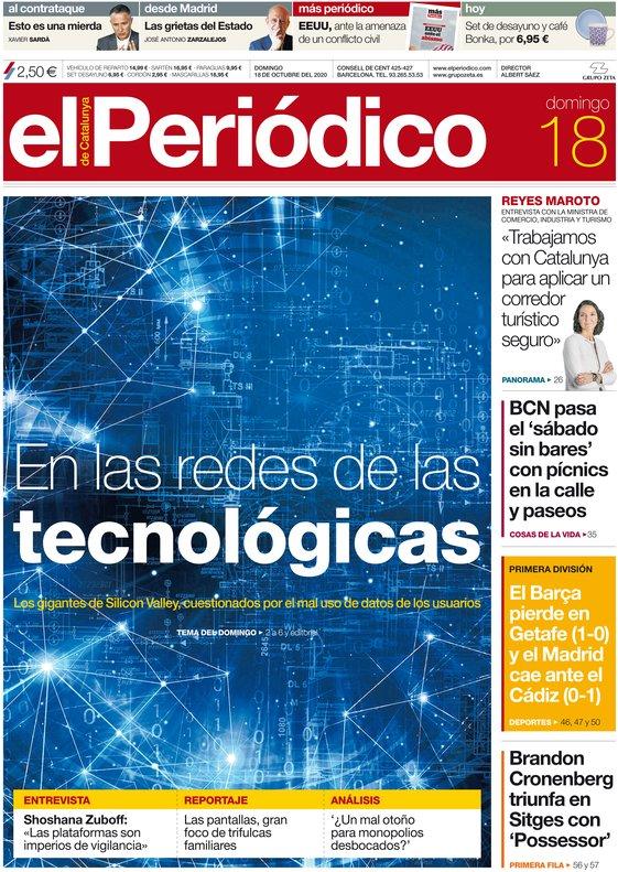 La portada de EL PERIÓDICO del 18 de octubre del 2020