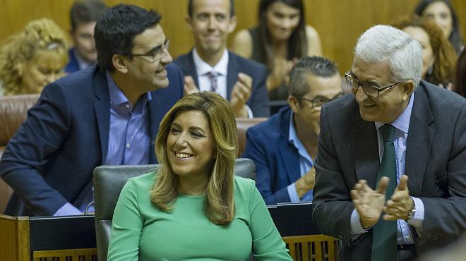 La presidenta de la Junta de Andalucía, Susana Díaz, durante la investidura de esta tarde.