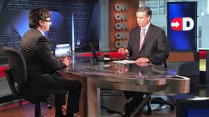 Carles Puigdemont durante la entrevista en el plató de la CNN en Washington.