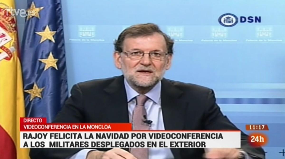 Imagen de la intervención de Rajoy, este sábado.
