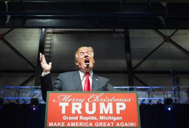 El republicano Donald Trump, en un mitin en Michigan.