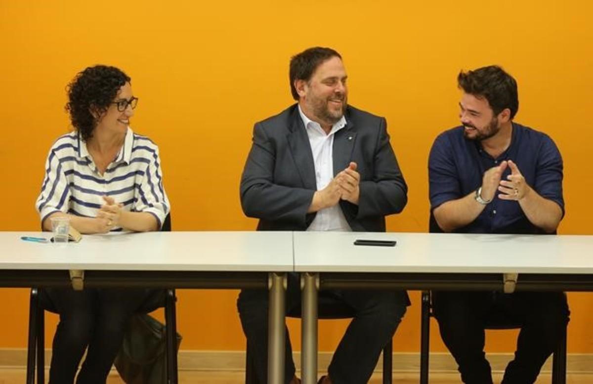Reunion de la ejecutiva de ERC despues de las elecciones generales de junio. En la foto,Marta Rovira, Oriol Junqueras y Gabriel Rufián.