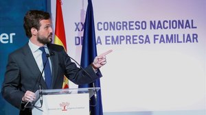 El presidente del PP, Pablo Casado,durante el 23 Congreso Nacional de la Empresa Familiar.