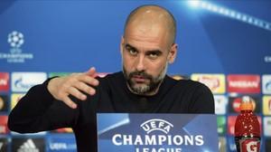 Pep Guardiola, en la rueda de prensa de este lunes en Múnich.
