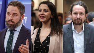 Santiago Abascal, Inés Arrimadas y Pablo Iglesias.