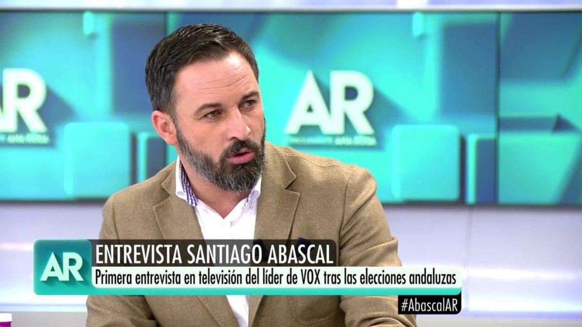 Santiago Abascal en una anterior intervención en 'El programa de Ana Rosa'.