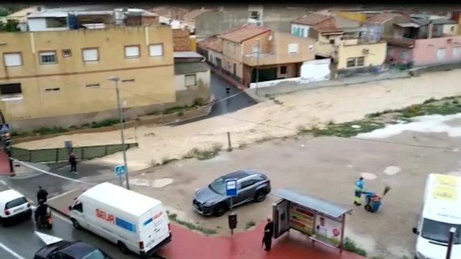 La Rambla de Churra (Murcia) que se ha desbordado tras las primeras lluvias de la Dana.