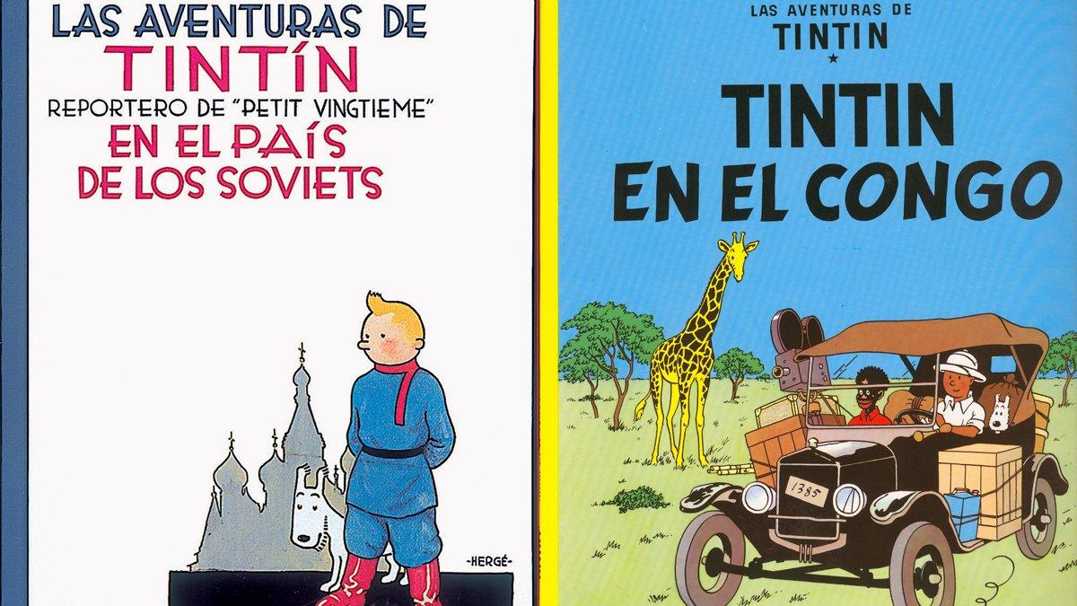 Portadas de los cómics Tintín en el país de los soviets y Tintín en el Congo.
