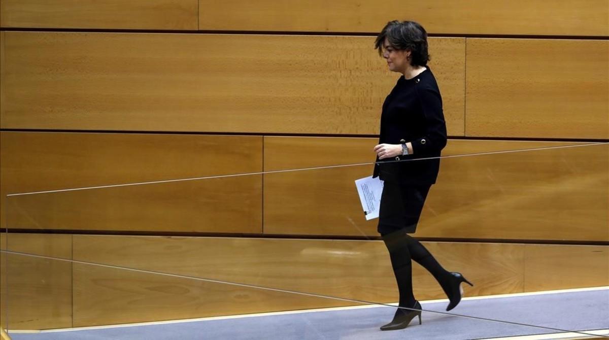 Soraya Sáenz de Santamaría, en una foto del 18 de diciembre del 2017, cuando acudió al Senado a dar cuenta del 155.