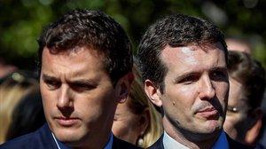 Albert Rivera y Pablo Casado, el pasado 11 de marzo en Madrid, durante el aniversario de la masacre terrorista.
