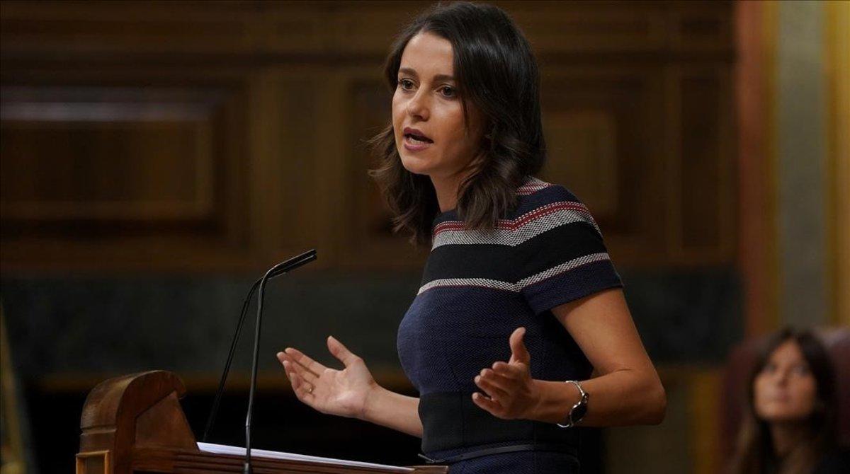 La líder de Cs, Inés Arrimadas, en el Congreso de los Diputados.