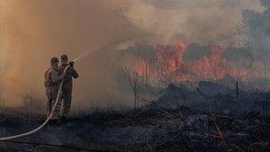 Unos bomberos trabajan en las labores de extinción del fuego en el estado amazónico de Mato Grosso, en Brasil, el pasado 26 de agosto.