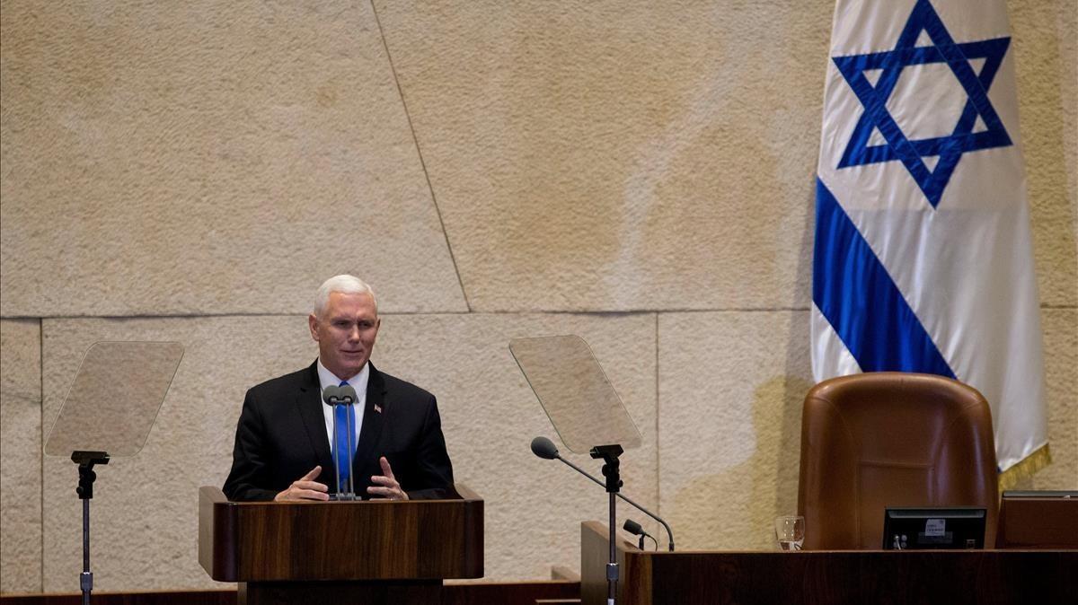 El vicepresidente de EEUU, Mike Pence, en la Knesset, este lunes 22 de enero.