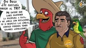 Viñeta publicada en México haciendo referencia al seleccionado mexicano y Diego Armando Maradona.