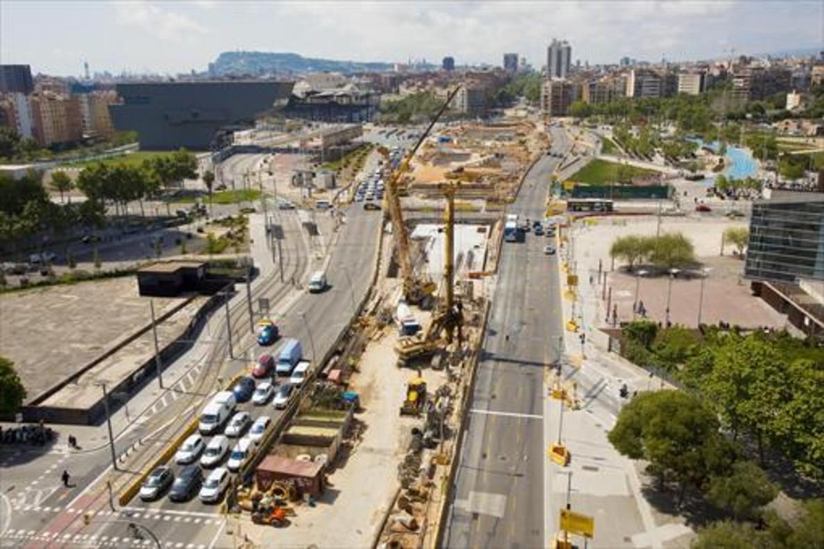 Vista aérea de las obras de las Glòries, cuando las constructoras todavía no habían retirado la maquinaria.