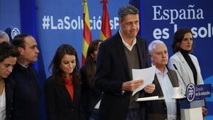 Xavier Garcia Albiol, en su comparecencia para valorar los resultados electorales del 21-D.