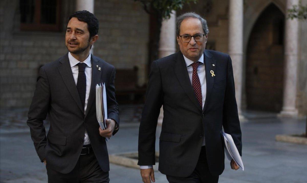 Damià Calvet y Quim Torra, este martes antes de la reunión del Consell Executiu.