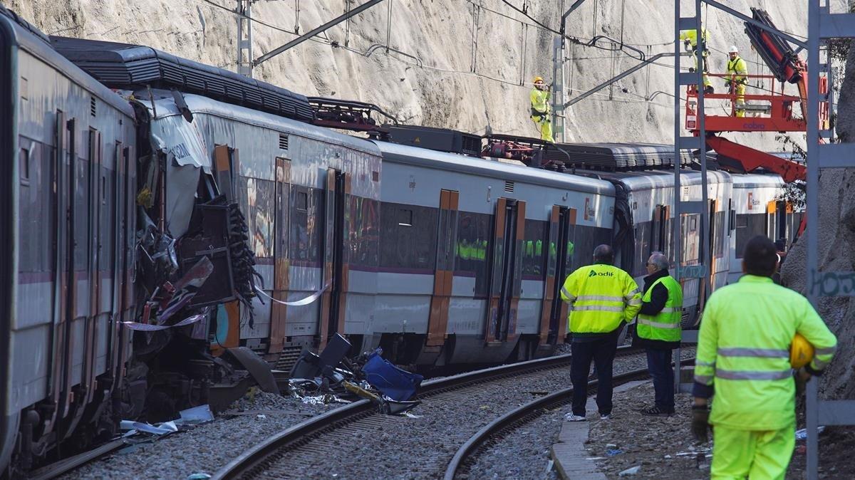 Uno de los trenes siniestrados en Castellgalí.
