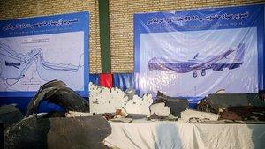 Exposición del dron estadounidensederribado por Irán el pasado viernes.