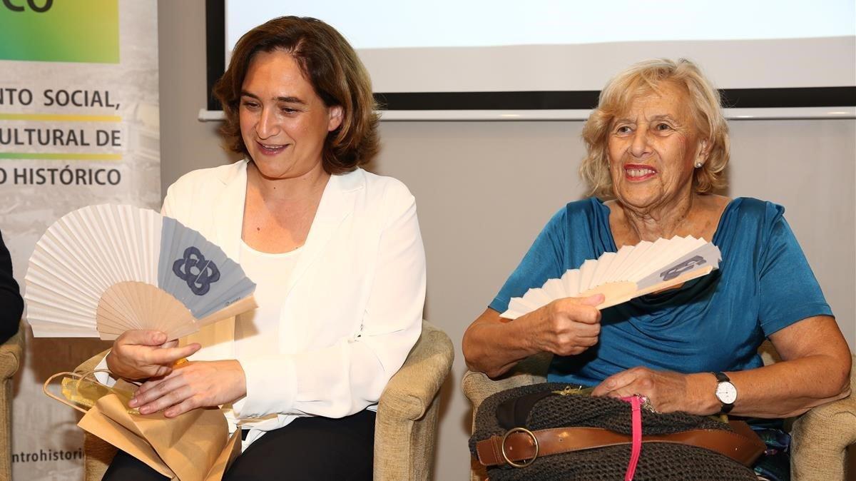 Manuela Carmena y Ada Colau en el encuentro de Diàlegs Civils BCN&MAD, el pasado lunes.