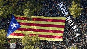Vista aérea desde el helicóptero de la AND de la manifestación de la Diada de este año.