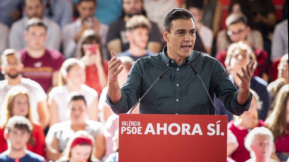 Mitin de Pedro Sánchez en Mislata (Valencia).