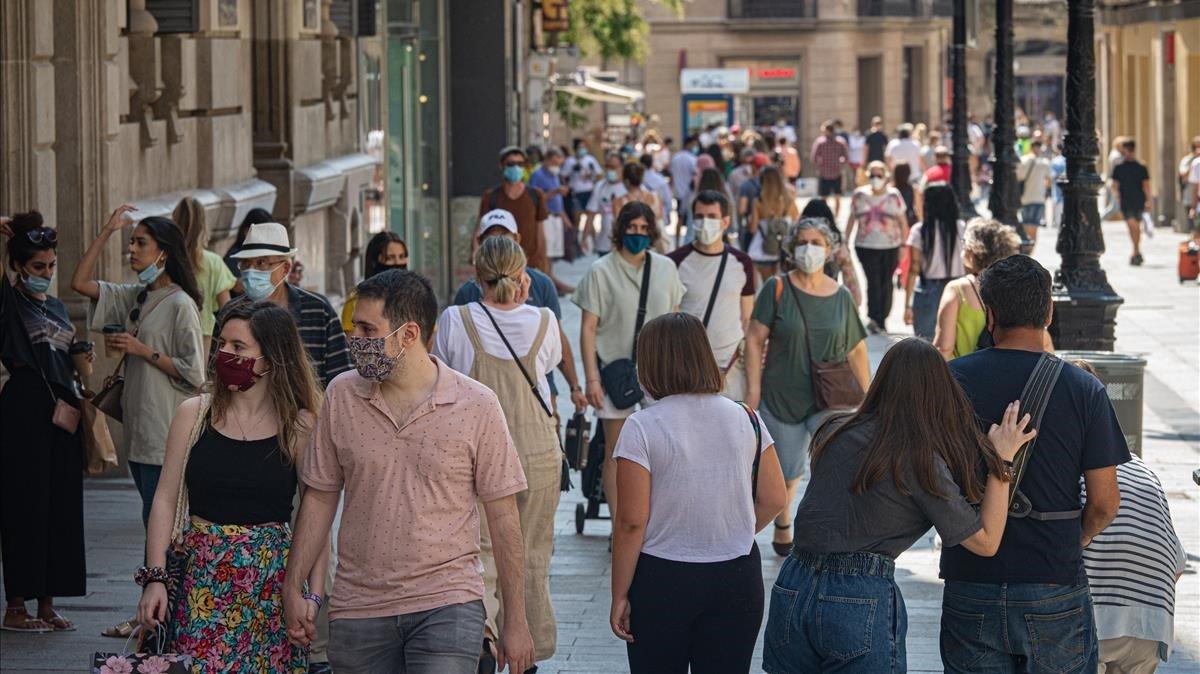 La calle Portal de l'Angel, en Barcelona, el pasado día 18.