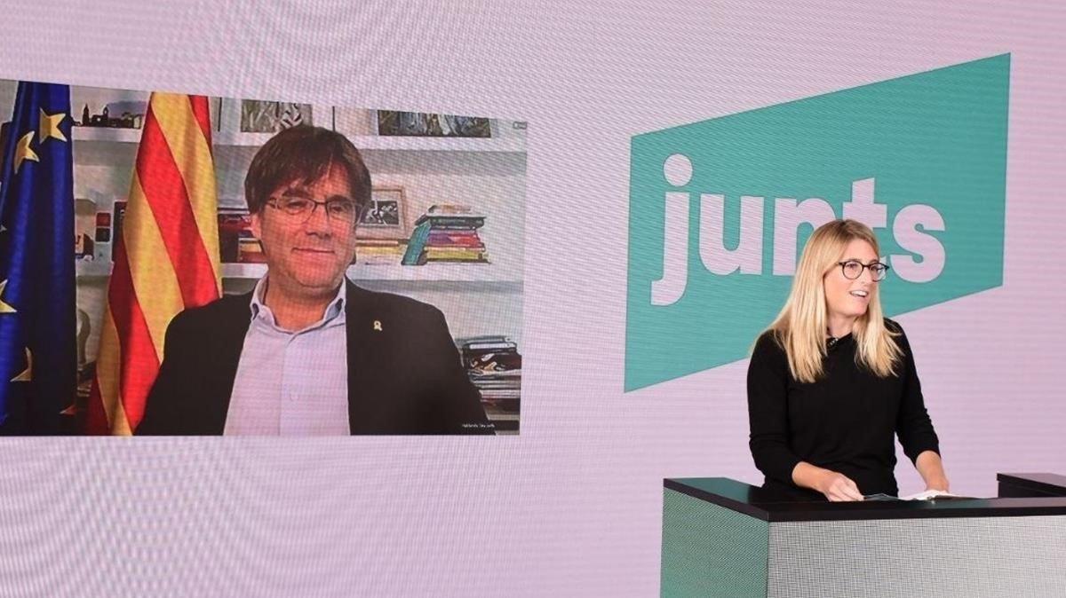 Puigdemont y Artadi, en la clausura del congreso fundacional de Junts per Catalunya.
