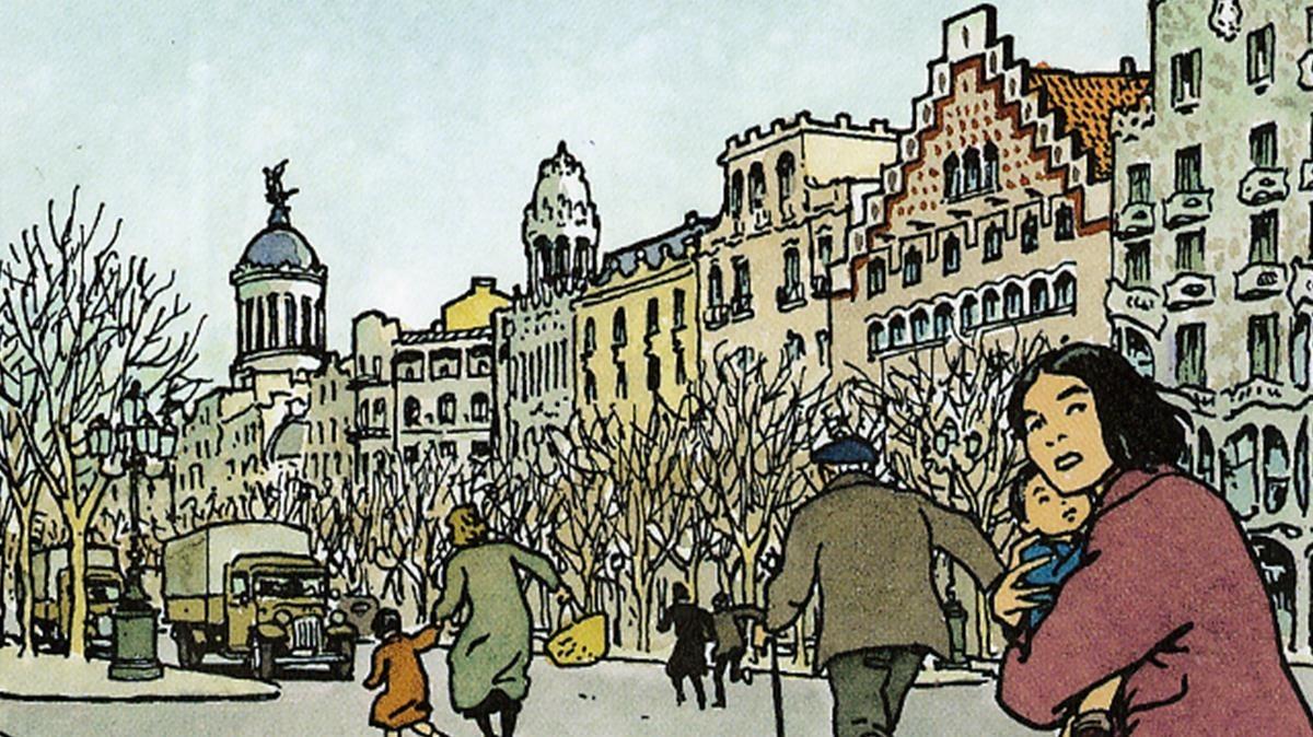 Viñeta de ¡No pasarán!, de Vittorio Giardino, durante un bombardeo franquista sobre Barcelona, en pleno paseo de Gràcia.