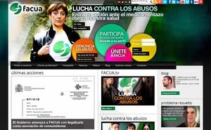 Pàgina web de lassociació Facua