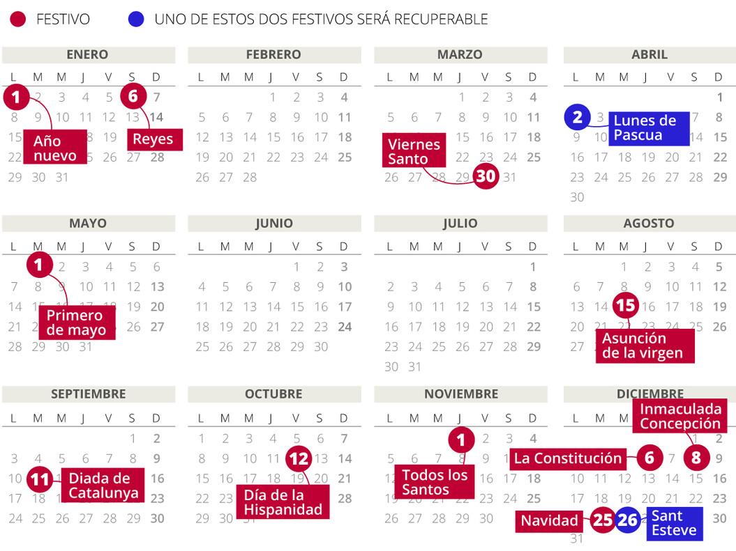laboral del 2018 en Catalunya (con todos los festivos)
