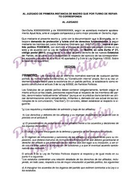 Demanda de Profundización Democrática contra Podemos.