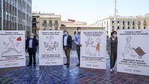Acto de presentación de la campaña 'Compra cerca. Somos comercio. Hacemos Barcelona'.