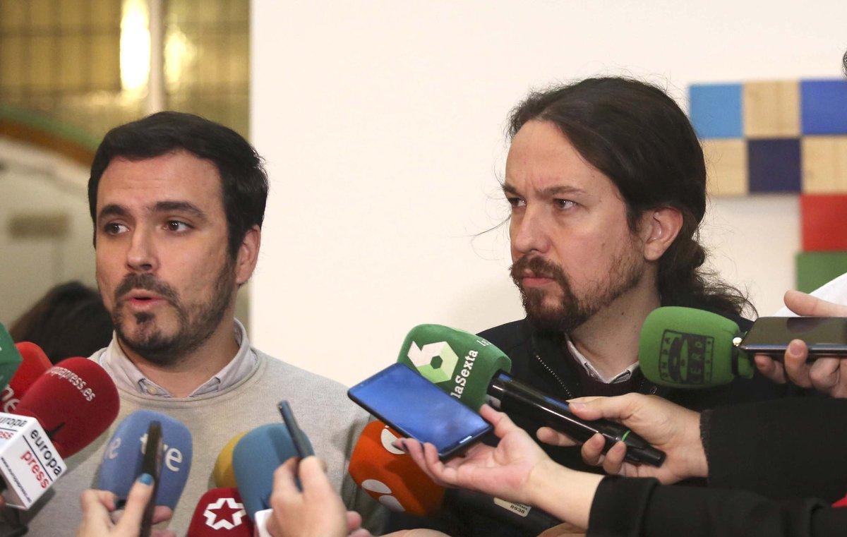 Alberto Garzón y Pablo Iglesias, en una reunión el pasado mes de diciembre.