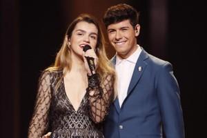 El paseíllo de Amaia y Alfred durante el primer ensayo general de la Gran Final de Eurovisión 2018