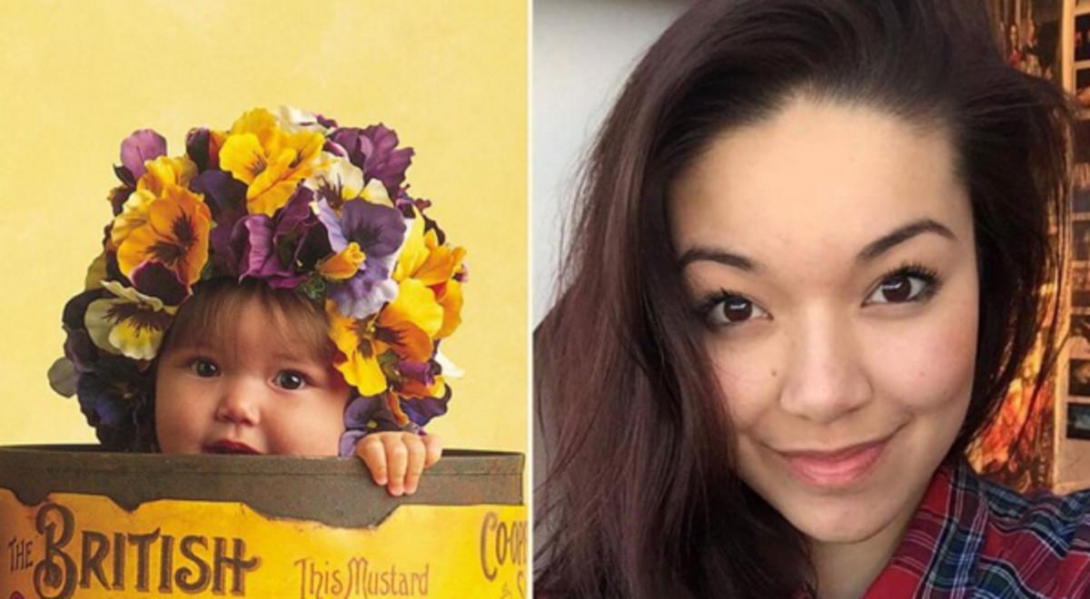 Antes y después de una de las bebés que ha fotografiado Anne Geddes.