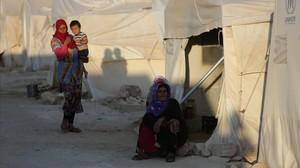 Un campo de desplazados en la provincia de Idlib, en el noroeste de Siria.