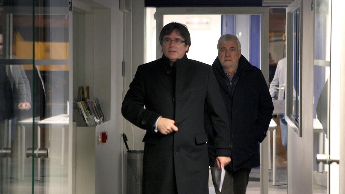 Carles Puigdemont, a su llegada al acto en Gante, el pasado 27 de febrero.