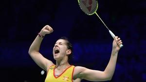 Carolina Marín tras ganar a la escocesa Kirsty Gilmour en Francia.