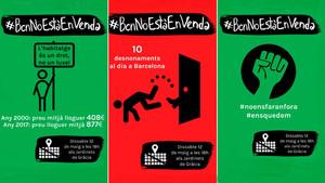 Carteles convocando a la manifestación en defensa de una vivienda digna en Barcelona.