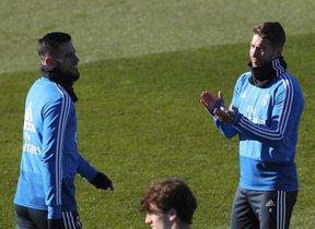 Kiko Casilla y Sergio Ramos, la semana pasada durante un entrenamiento del Madrid.