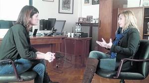 Ariadna Oltra, durante la entrevista con Rosa García, prevista para el programa .CAT, pero que se ha suspendido.