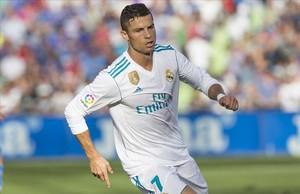 Cistiano Ronaldo celebra el tanto con el que dio el triunfo al Madrid.
