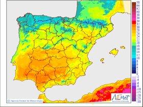 Predicción de temperaturas máximas y mínimas para hoy.