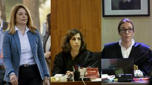 Samantha Romero, Eleonor Moyá y Rocío Martín, las tres magistradas del juicio del caso Nóos.