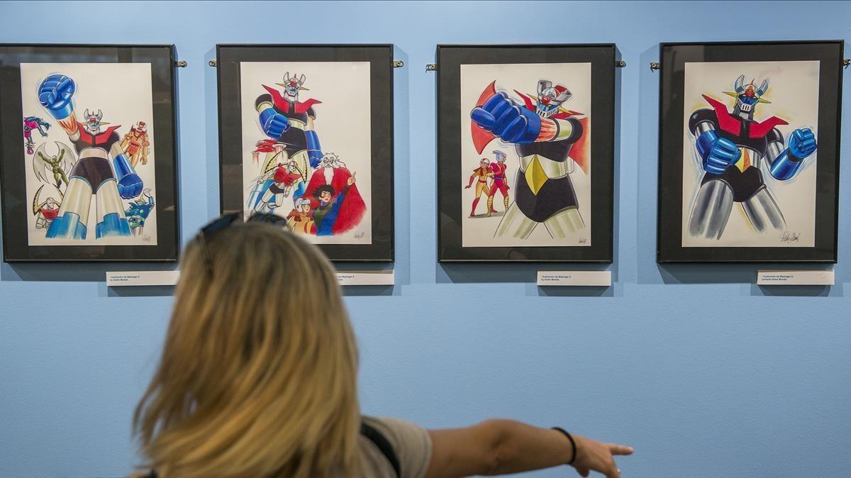 Originales de Isidre Monés en la exposición sobre Mazinger Z en el Salón del Manga.