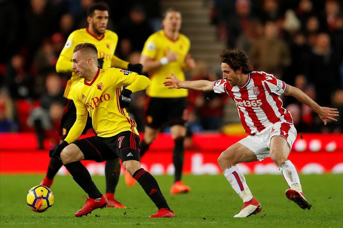 Deulofeu, en una acción de un anterior partido con el Watford.