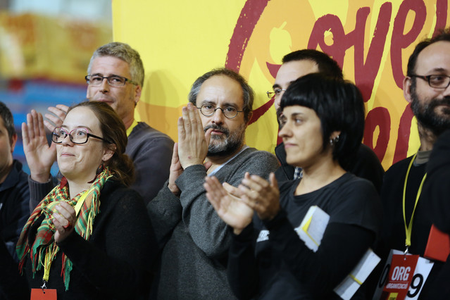 Dirigentes de la CUP, en la asamblea celebrada en Manresa el pasado 29 de diciembre.