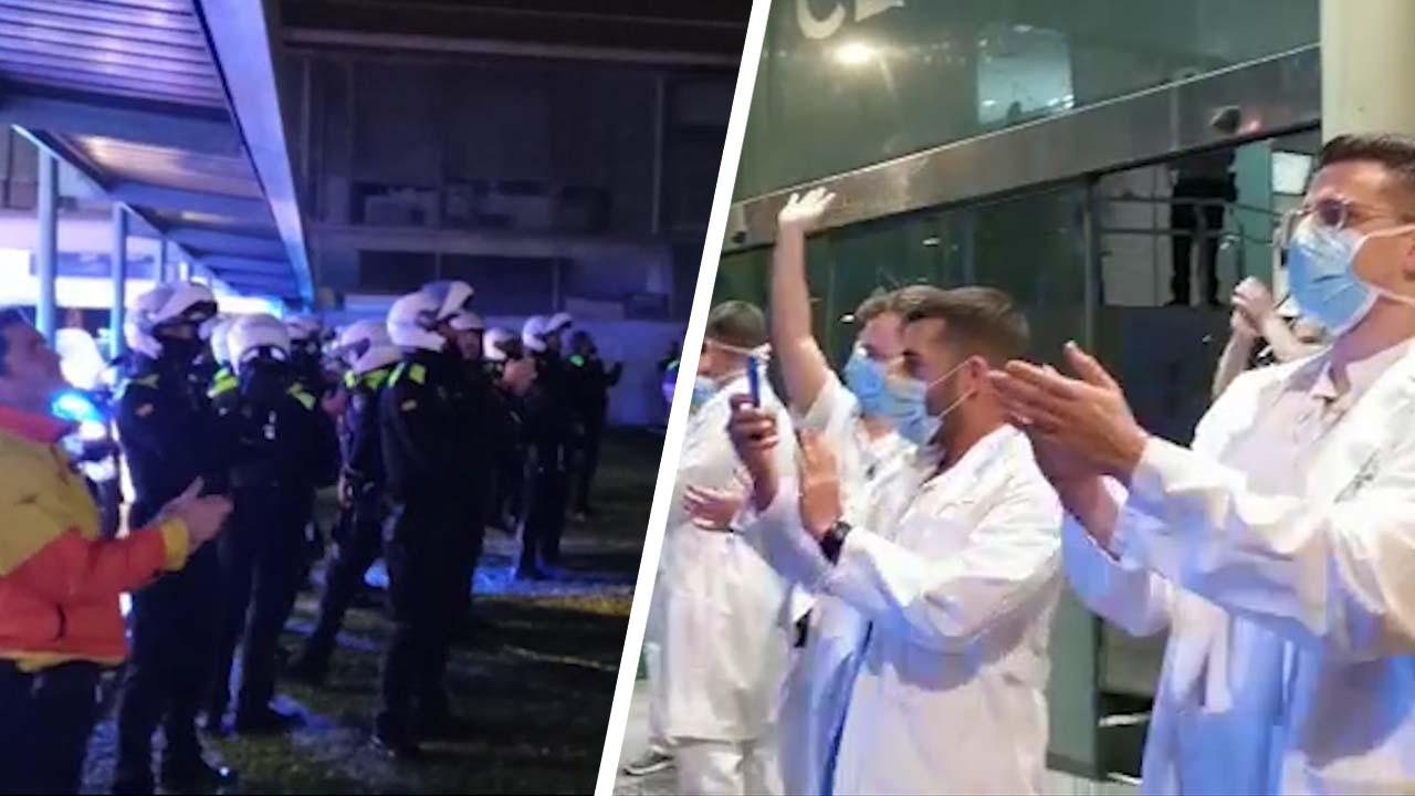 El emotivo homenaje de la policía a los equipos sanitarios que luchan contra el coronavirus.