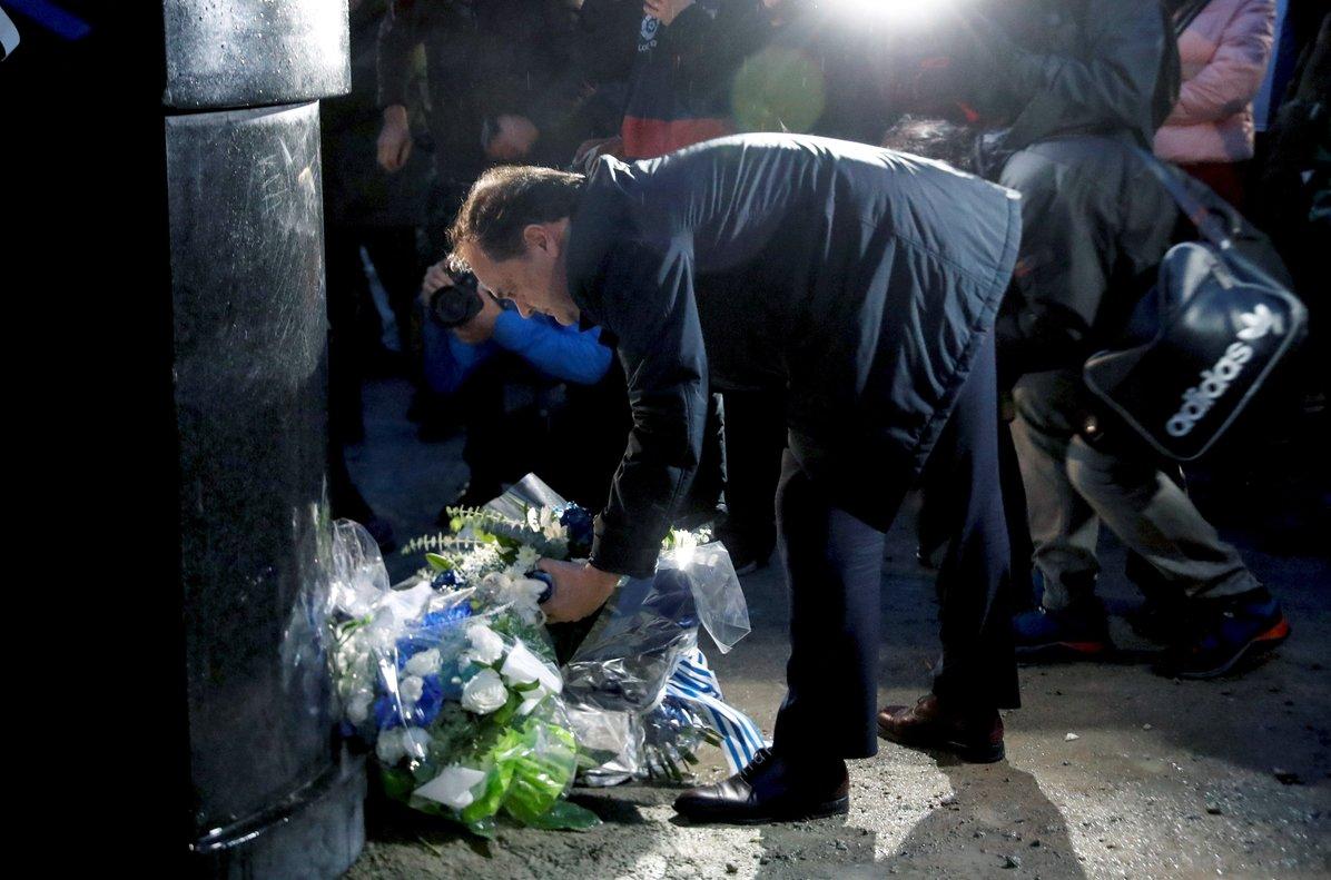 Jokin Aperribay, presidente de la Real Sociedad, en el homenaje a Aitor Zabaleta, al cumplirse 20 años de su asesinato.